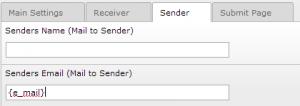 Sender E-Mail Variable Input