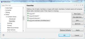 Eclipse Code Assistent Favorites Preferences