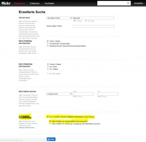 Flickr Extended Search with Creative Commons Support